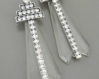 Vintage Jewelry - Art Deco Inspired Earrings - Statement Earrings - Crystal Earrings - Silver Earrings - Acrylic Earrings - handmade jewelry