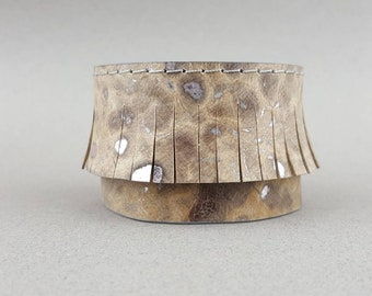 Brown Cuff Bracelet, Leather Bracelet, Brown Silver Bracelet, Fringe Bracelet, Leather Wristband, Woman Bracelet, Boho Bracelet