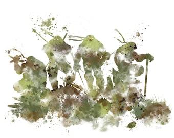 Teenage Mutant Ninja Turtles ART PRINT illustration, Leonardo, Michelangelo, Raphael, Donatello, Home Decor, Wall Art