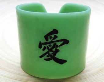 SALE Cuff Bracelet Jade Green Chinese Character Kanji Love Symbol, Handmade Jewelry by theshagbag