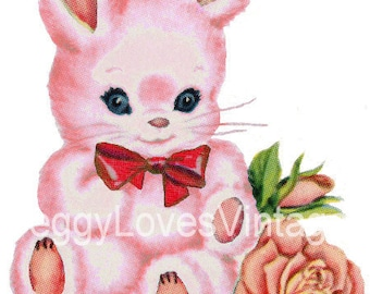 Pink Bunny with Red Bow Digital Image from Vintage Greeting Cards - Instant Download