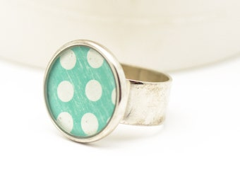 Polka Dot Ring | Personalized Ring | Adjustable Jewelry | Distressed Jewelry | Gift for Her | Birthday Gift | Silver Accessory