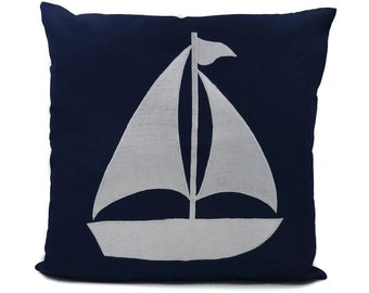 """New Fabric - Sailboat - Nautical Embroidered Pillow Cover - Fits 18""""x18"""" Insert - Navy - Beach / Coastal / Nursery Decor (READY TO SHIP)"""