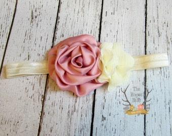 Dusty Pink Rose & Cream Headband -  Baby Headband - Flower Girl - Satin Pearl Rhinestone Cream Chiffon Headband -  Rustic Shabby