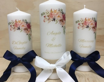 Wildflower Wedding Candles - Set of 3