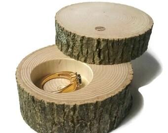 Petit cendrier de bague en bois avec couvercle proposition boîte bague rustique porteur «Oreiller» journal personnalisé de bijoux de mariage