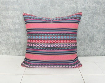 Argentina Pillow Cover / Ethnic Textile Cushion Cover Decorative Throw Pillow South American Bright Colorful Hand Spun Loom Woven Pink Blue