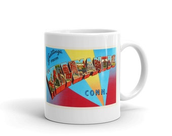 Mug – Willimantic CT Greetings From Connecticut Big Large Letter Postcard Retro Travel Gift Souvenir Coffee or Tea Cup
