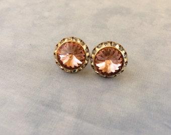 Swarovski Vintage Rose Crystal Stud Earring, 16mm, bridesmaid earrings, pink crystal earrings, bridesmaid gift, blush wedding earrings
