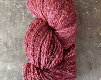 "Light Worsted Weight Handspun Yarn ""Red Wine"""