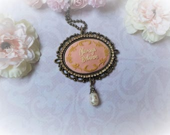Shabby chic necklace cameo rhinestone and Pearl
