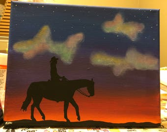 Cowboy at Sunset Silhouette Painting