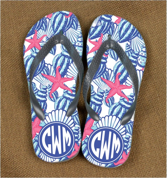 Sea Shells Monogrammed Sandals Lilly Inspired Summer Outdoors Flip Flops Bachelorette Party Monogram Sandals Personalized Beach Flip Flops