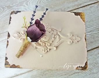 Plum colour Rose boutonniere Groom groomsmen flower Classic wedding party buttonhole accessory lapel pin Lavander