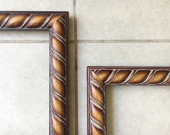 "Twisted Carved Wood Frame   11x14"" wooden dark Frame Art Picture Photo Frame Large Framing matching Set"