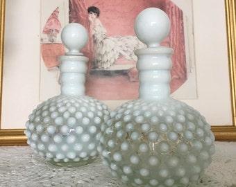 Hobnail Glass, Hobnail Milk Glass, Hobnail Perfume Bottles, Antique Perfume Bottle, Opalescent Hobnail Glass, Antique Cologne Bottle
