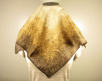 Brown Grass Print Scarf - Vintage Beige Wheat Square