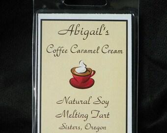 Coffee Caramel Cream Handmade Natural Soy Melting Tart  by Abigail's on Main