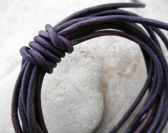 Natural Dye Violet - 1.5mm Leather Cord - By the Yard