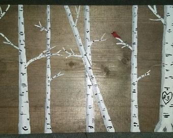 White Birch Trees & Cardinal on Barnwood