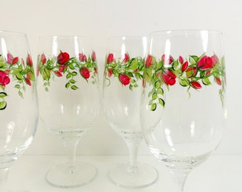 Wine Water Tea Glasses Red Roses Hand Painted Flowers Set of 4