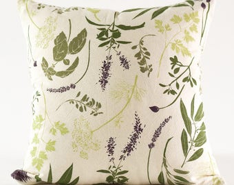 "Herb Garden Pillow Cover : 16"" Square Cotton Pillow Cover with Invisible Zipper"
