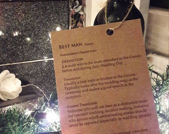Best man request gift bottle tag personalised wedding