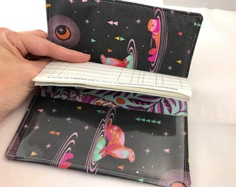 Grey Duplicate Checkbook Cover with Pen Holder Pink Duplicate Checkbook Register - Fabric Checkbook Cover  Tula Pink Otter Starlight