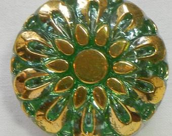 Pillow Flower Czech Glass Button