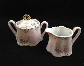 Vintage Porcelain Cream and Sugar Set by Edna Ulrich 1974    01883