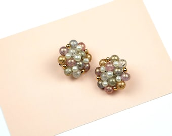 Vintage Ohrringe Modeschmuck Klips grüne Perlen Pastell silber Clips  Schmuck