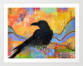 Contemporary Art Print, Colorful Raven Print, Fine Art Giclee of a Raven on a Colorful Background, Raven in Solstice