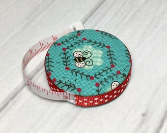 Bumble Bees Fabric Covered Retractable Tape Measure