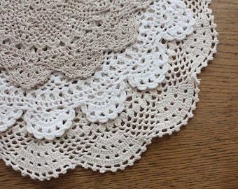 Three Vintage Crochet Doilies ~ Cream and Ecru Cotton ~ Repurpose Doily Cottage Decor Wedding Table Vintage Wedding