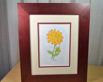 Original Watercolor Painting - Framed Painting of Dahlia Flower