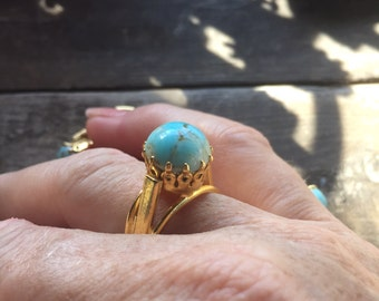 Ring Aqua Marbled Glass Cocktail Ring Adjustable Gold Aqua 1970s Spain Deadstock