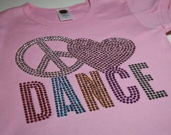PEACE (HEART) DANCE rhinestud  tee by Daisy Creek Designs