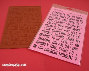 Collage Words / Invoke Arts Collage Rubber Stamps / Unmounted Stamp Set