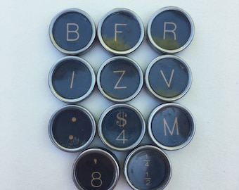 Lot of 11 Authentic Royal Flat Back Typewriter Keys for Jewelry Supplies