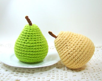 Crochet Pear Pretend Play Toy Food, Stuffed Food for Child Kid Toddler Gift, Amigurumi Fruit Kitchen Decor, Choice of Color for One Pear