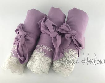 Lilac purple Cotton Robe with ivory lace trim -Bride Bridesmaid Flowergirl Gift-Monogrammable | sizes 0-26 standard or petite, child sizes
