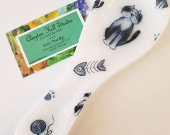 Fused Glass Spoon Rest - Black Cat