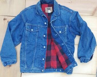 Vintage Denim Jacket  //  Vtg 80s 90s Beautifully Faded Distressed GAP Red + Black Plaid Flannel Lined Denim Jacket