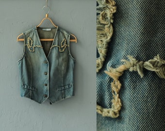 Western Denim vest, Jeans vest, Vintage denim vest, Women vest, 90s Denim Vest, Blue jean Vest, Women Waistcoat, Cowboy vest Cowgirl / Small