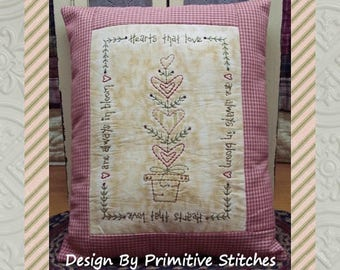 Hearts That Love--Primitive Stitchery E-PATTERN-by Primitive Stitches-Instant Download