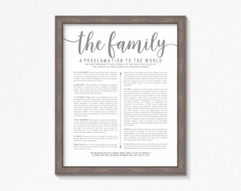LDS Family Proclamation-Grey Text-Printable-Multiple Size Choices Available-LDS-Digital Files-Poster printables