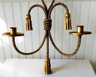 Vintage Lrg., Heavy Gold Gilt Metal Rope & Tassel, Double Arm Sconce, Coastal, Nautical, French Country, Hollywood Regency, Glam