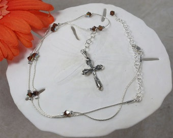 SALE Cross Necklace, Silver Cross, Brown Crystal