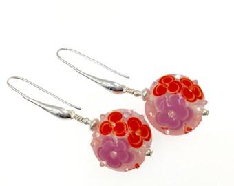 Lavender Red Lampwork Earrings, Floral Glass Bead Earrings, Dangle Drop Earrings, Flower Earrings, Beadwork Earrings, Lampwork Jewelry