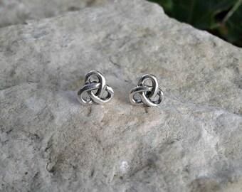 Celtic Earrings, Solid Sterling Silver Celtic Knot Stud Earrings, Celtic Jewelry